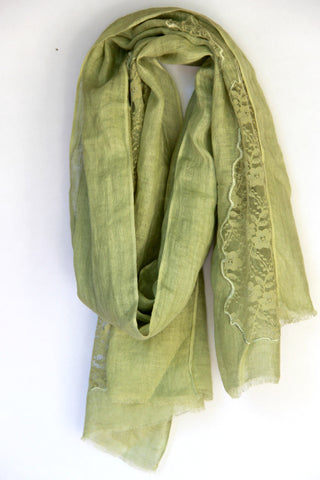 Lace Scarf in Green Patches - Indiverve