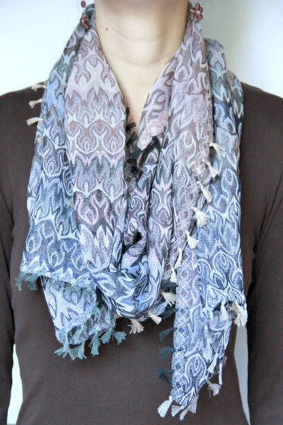 Fringe Scarf in Abstract Print