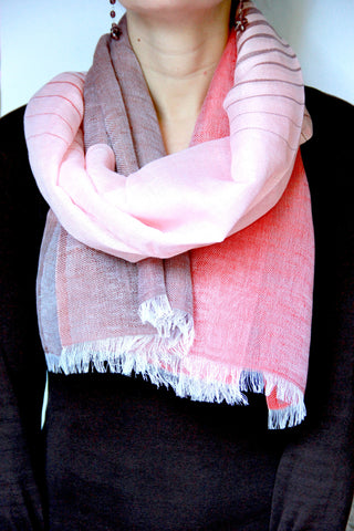 Striped Scarf in Pink Fusion