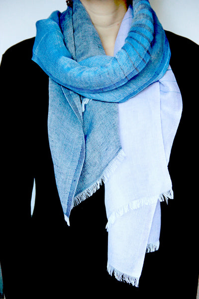 Striped Scarf in Blue Fusion