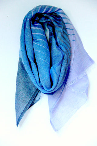 Striped Scarf in Blue Fusion - Indiverve