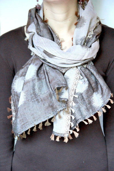 Fringe Scarf with Polka Dots