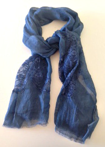 Lace Scarf in Midnight Blue Patches - Indiverve