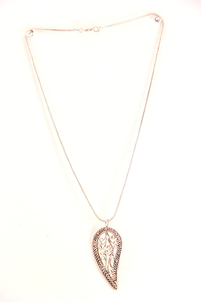 Paisley Leaf Pendant Necklace