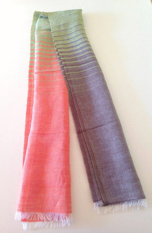 Striped Scarf in Peach Fusion - Indiverve