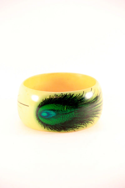 Printed Peacock Bangle in Yellow