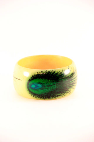 Printed Peacock Bangle in Yellow - Indiverve