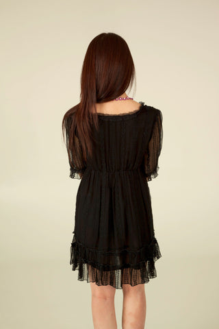 Lace Ruffle Dress in Black - Indiverve