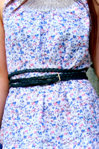 Skinny Braided Belt in Leather - Indiverve