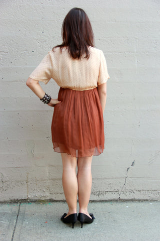 two tone layers dress brown