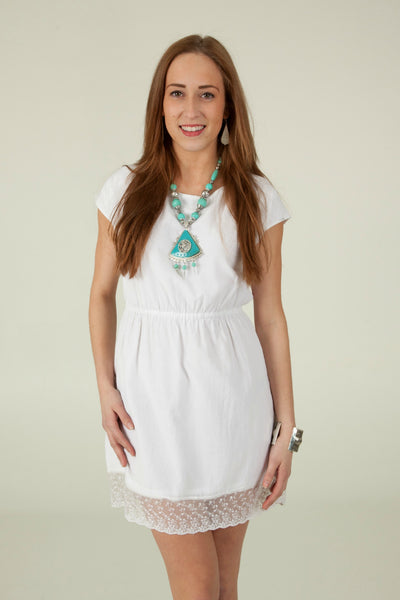 Little White Dress with Lace Hem