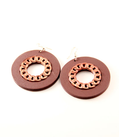 copper wooden earrings