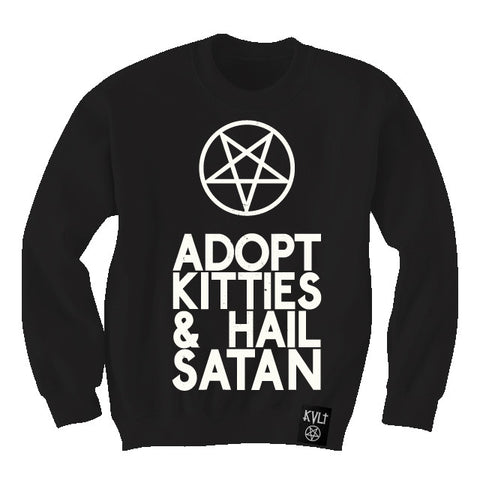 ADOPT KITTIES & HAIL SATAN SWEATER