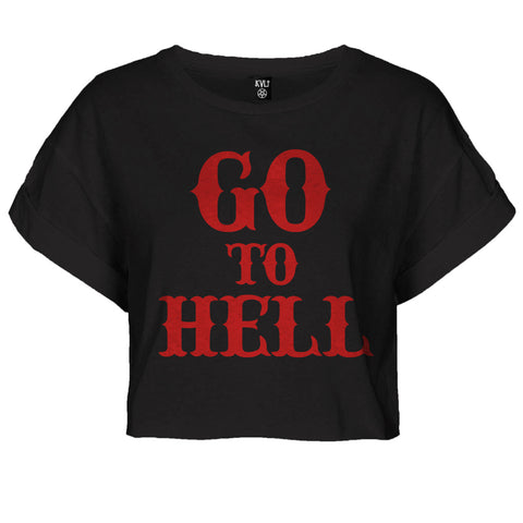 GO TO HELL ROLLED SLEEVE CROP