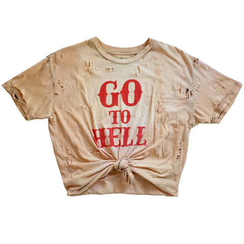 GO TO HELL VINTAGE KNOT CROP