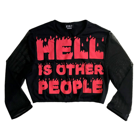 Hell is Other People Mesh Sleeve Crop