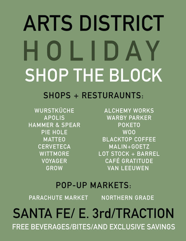 ARTS DISTRICT HOLIDAY SHOP THE BLOCK