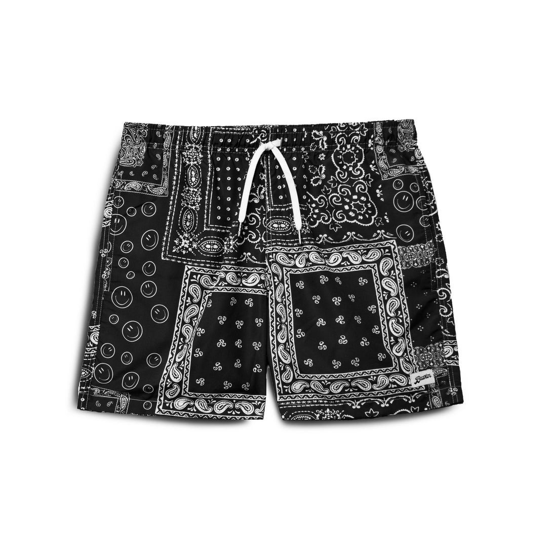 Bather Black Bandana Print Swim Trunk