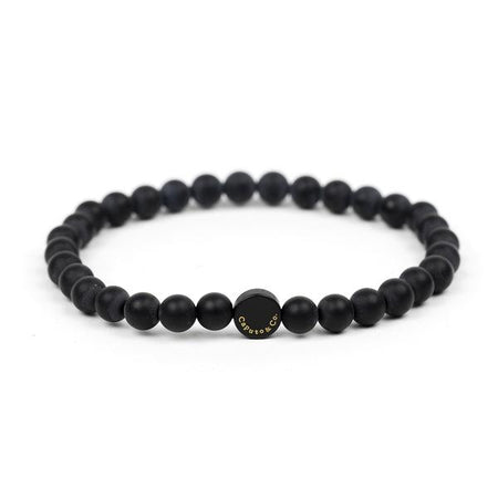 Caputo & Co Black Matte Onyx Gemstone Stretch Bracelet