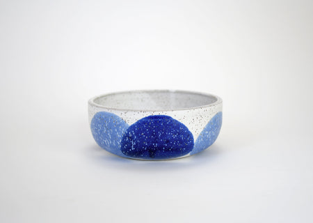 Natan Moss White and Blue Low Ceramic Bowl