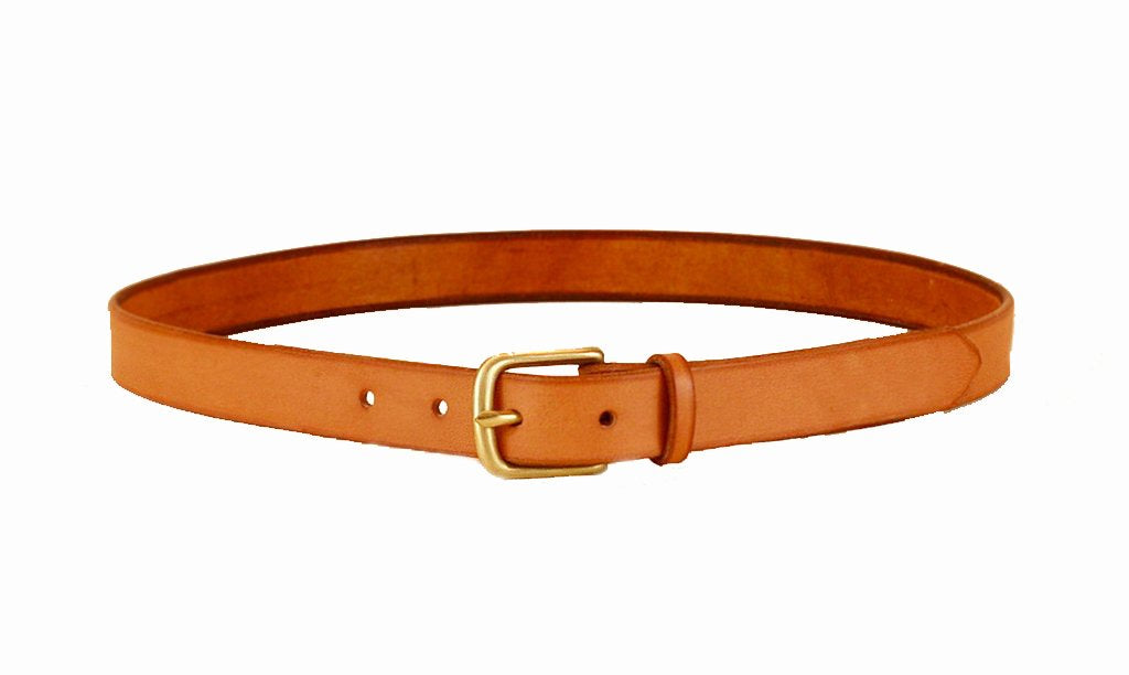 Maximum Henry Brown Leather Brass Buckle Slim Standard Belt