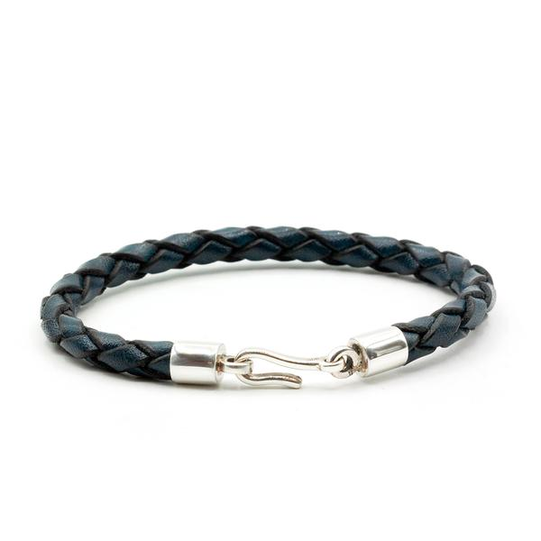 Caputo & Co Navy Blue Italian Leather Braided Hook Bracelet