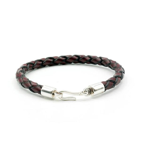 Caputo & Co Brown Italian Leather Braided Hook Bracelet