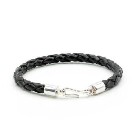 Caputo & Co Black Italian Leather Braided Hook Bracelet