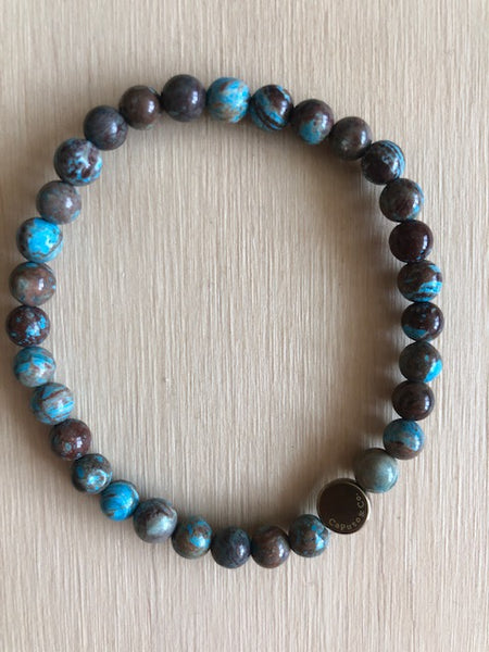 Caputo & Co Chrysocolla Gemstone Stretch Bracelet