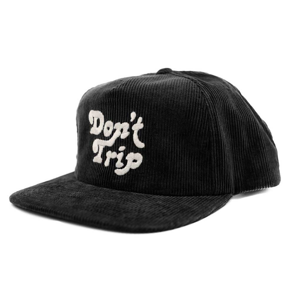 Free and Easy Don't Trip Corduroy Snapback Black Flat Brim Hat