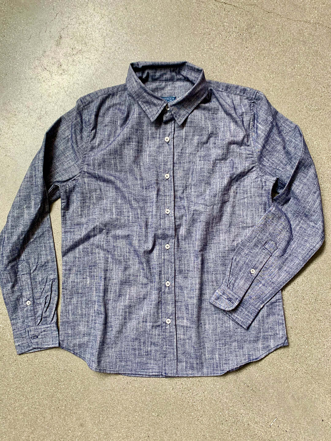 Wittmore Navy Blue Soft Chambray Button Down Shirt