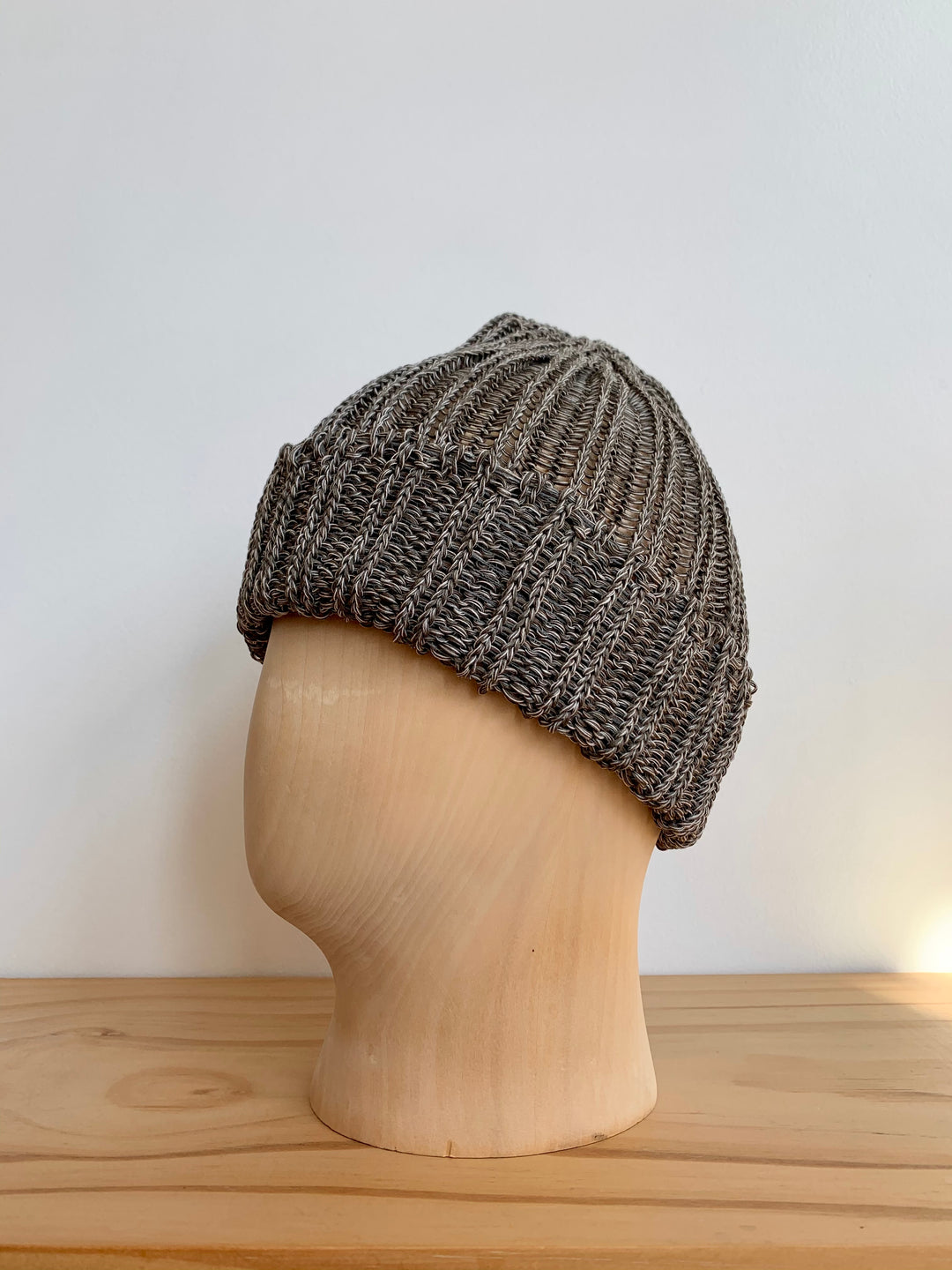 Cableami Grey Mix Linen-Like Pre-Organic Cotton Knit Cap