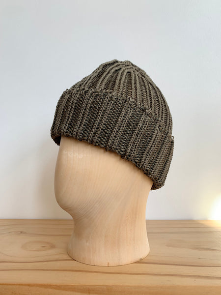 Cableami Olive Linen-Like Pre-Organic Cotton Knit Cap