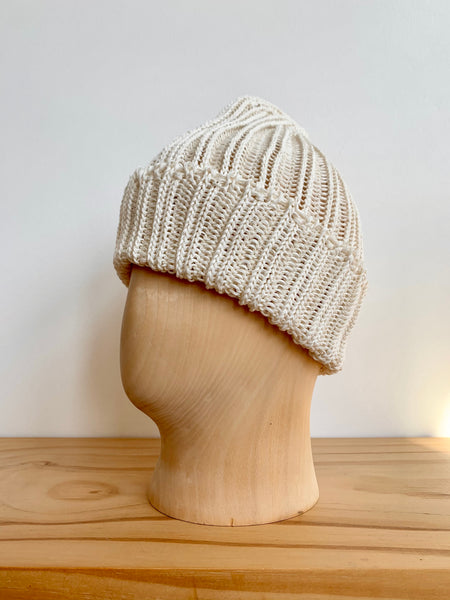 Cableami Natural White Linen-Like Pre-Organic Cotton Knit Cap