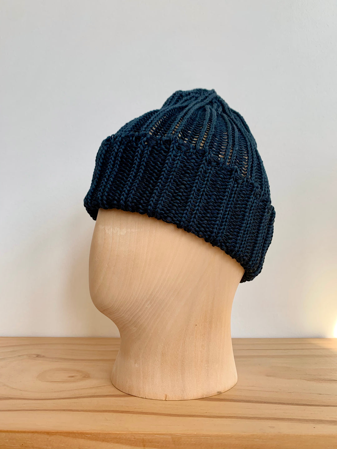 Cableami Navy Linen-Like Pre-Organic Cotton Knit Cap