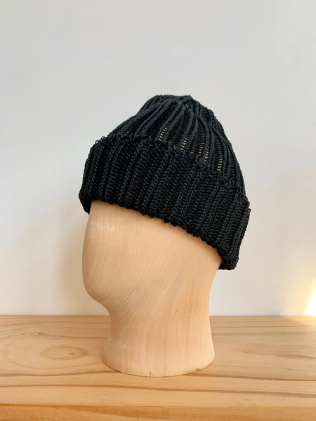 Cableami Black Linen-Like Pre-Organic Cotton Knit Cap