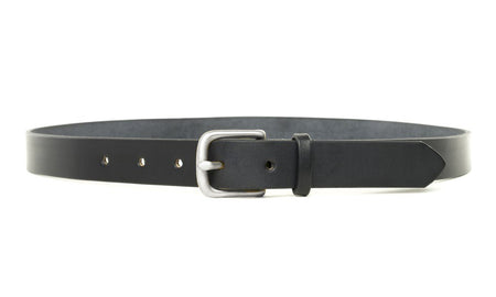 Maximum Henry Black Leather Silver Slim Standard Belt