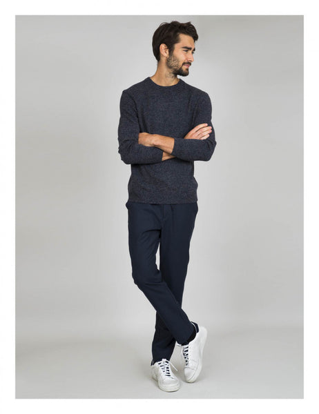 Cuisse de Grenouille Navy Blue x Grey Lightweight Sweater