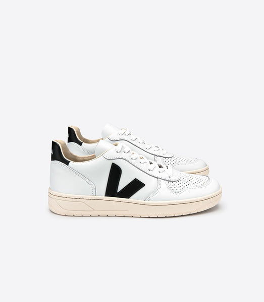 VEJA Men's V-10 Extra White Black Leather Sneaker