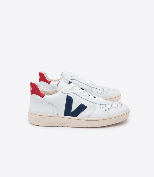 VEJA Men's V-10 Nautico Pekin Extra White Leather Sneaker