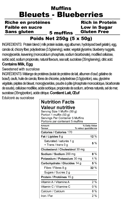 Nutritional facts High Protein Blueberry Muffin box