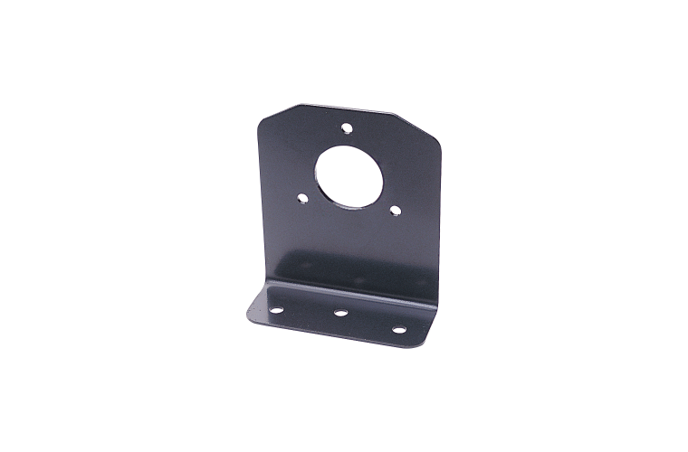 Angled bracket for large round plastic and metal sockets
