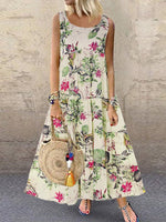Crew Neck Sleeveless Floral Casual Maxi Dress