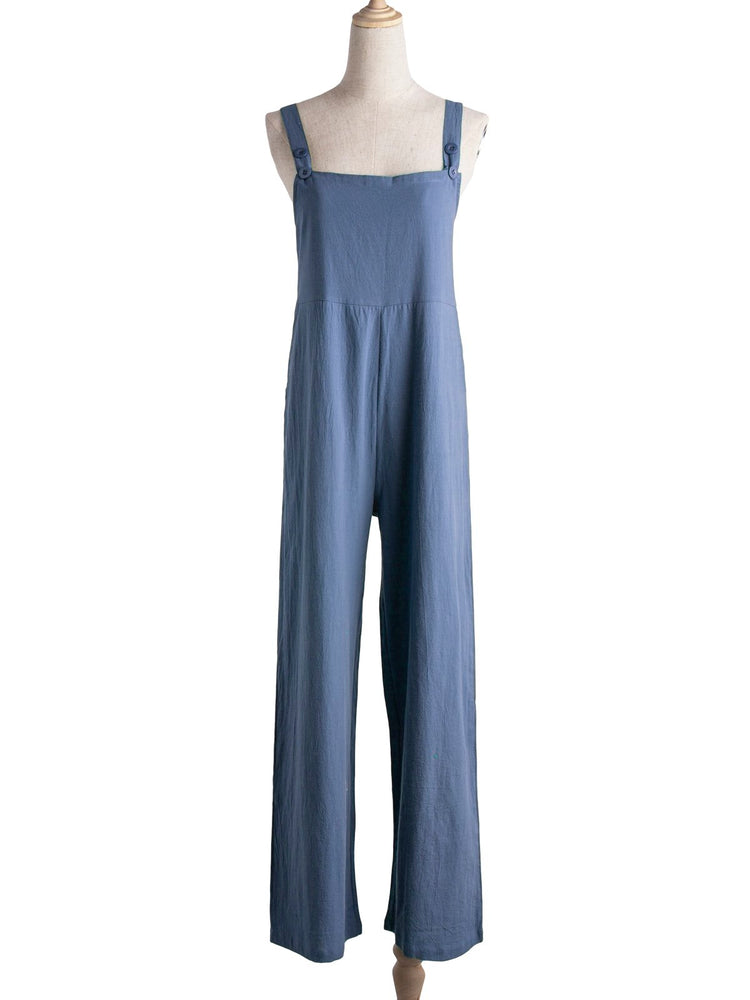 Casual Solid Sleeveless Pockets Cotton Jumpsuits