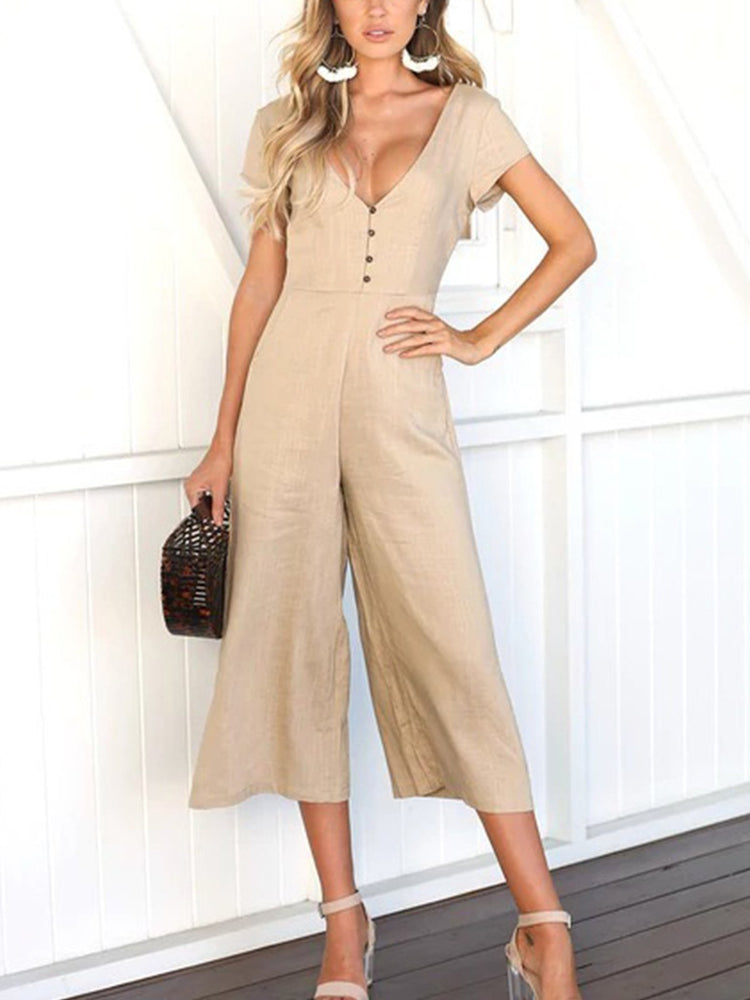 Solid  V Neck Short Sleeve Casual Jumpsuits