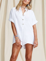Short Sleeve Button Jumpsuit Solid Holiday Stand Collar Romper