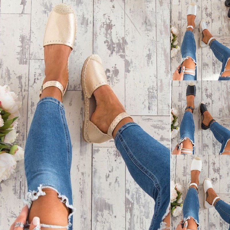 Women Summer Style Sandals PU Flat Espadrilles Buckle Sandals