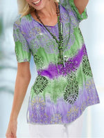 Printed/dyed Short Sleeve Holiday Blouse