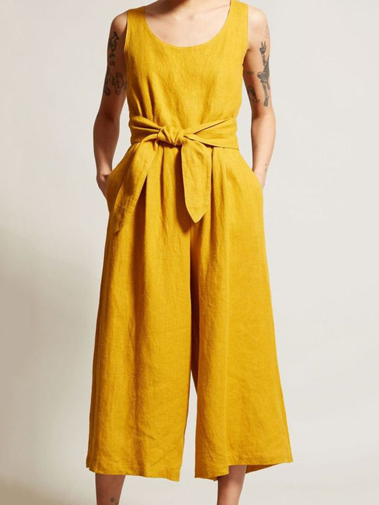 Casual Solid Pockets Bow Tie Jumpsuits