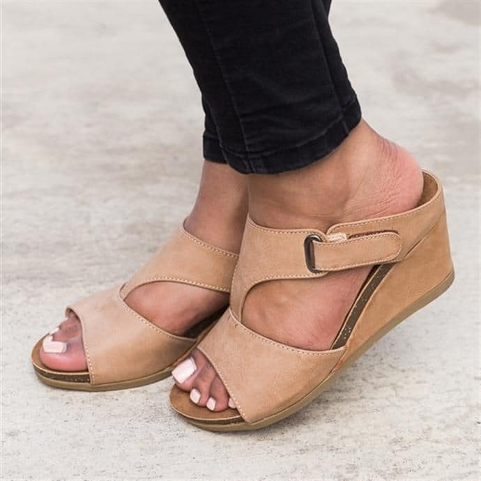 Pu Wedge Heel Magic Tape Summer Sandals
